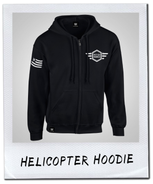 HELICOPTER HOODIE | WHITE PRINT